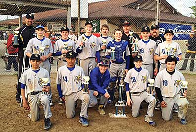 In the back row, from left to right, assistant coach Paul Krause, Aric France, Isaiah Chitkara, Stephen Krause, Devin Milton, Brandon Bishop, assistant coach Dwayne Deweese, Alex Kennedy, head coach Shawn Whisman and Hunter Dewesse. In the front row, from left to right, Evan Baugh, Brayden Runion, Ander Kohrs, Dylan Whisman and John Stringfellow.