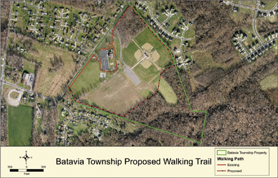 Batavia Township received a Nature Works Grant from the Ohio Department of Natural Resources to extend the walking trail at the community center. The proposed trail will continue along the cleared part of the community center property.