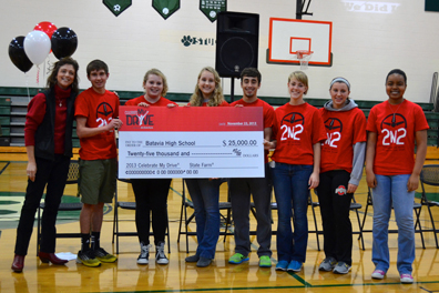 Batavia students pose with a check from the Celebrate my Drive campaign.
