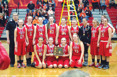 The Felicity-Franklin Lady Cardinals pose with their district championship trophy after beating Russia 52-48 on March 1.