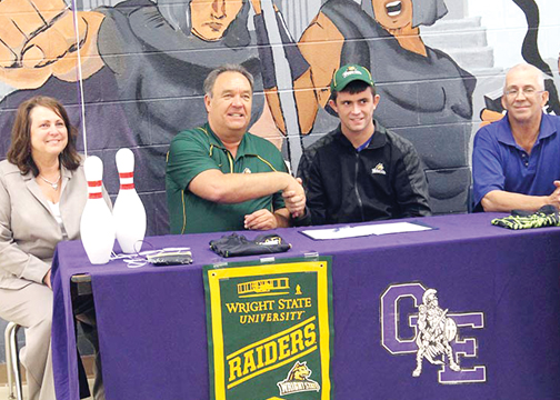 Glen Este graduate Blake Huber signed to bowl in college at Wright State University last month in the school's East Cafe. Huber, along with fellow GE alum Leslie Campbell, will join the Raiders bowling team in the fall.