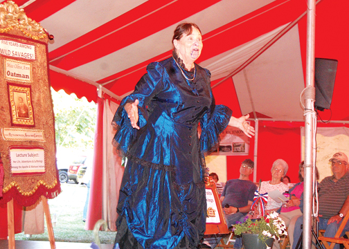 Ohio Chautauqua performer Dianne Moran plays Olive Ann Oatman during a living history performance July 3.