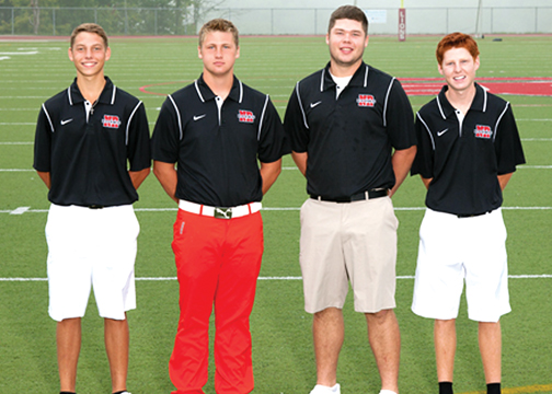 The New Richmond seniors, from left, Bryce Kroeger, Kyle Heidlage, Daman Abner and Chris Mazzaro, have accounted for nearly all of the Lions scores so far this season. They will try to advance out of sectionals on Sept. 24.