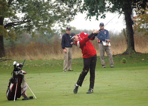 Milford sophomore Nathan Arnold played in his second consecutive district tournament last week. He shot a 7-over par 79 to miss out on a state qualifying spot by four strokes.