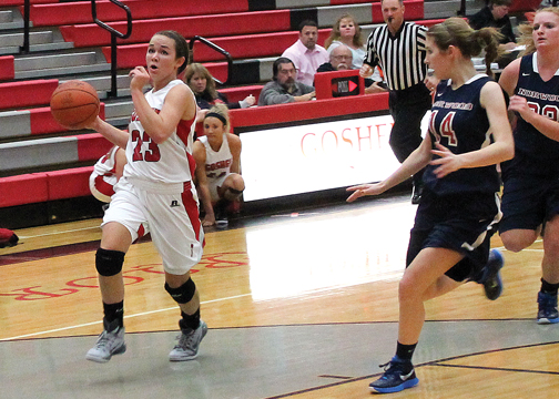Goshen sophomore Anna Dowd has taken on a bigger role for the Lady Warriors since head coach Dave Mason has moved players around in the early going.