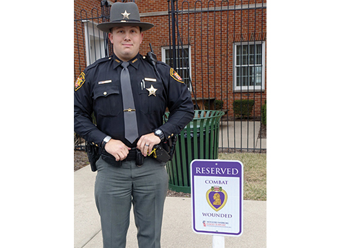 Deputy Danny Ruck with the Clermont County Sheriff's Office helped bring Purple Heart Parking to the county.