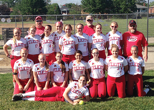 The Felicity-Franklin Lady Cardinals pose after winning their sixth consecutive sectional title on May 19, a 10-0 win over Cincinnati Country Day.