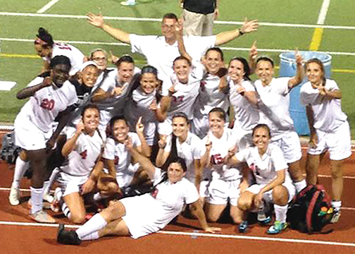 The New Richmond girls soccer team poses following their 1-0 victory over Amelia  on Aug. 27.