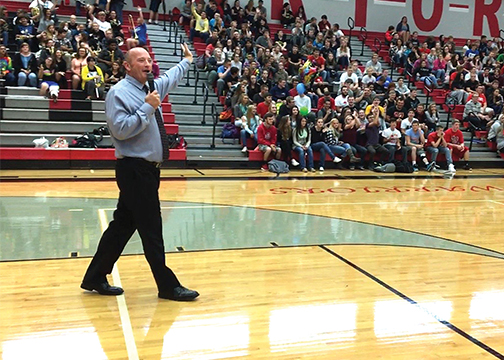 Goshen High School Principal Nick Inabnitt, pictured, and officials held a pep rally on September 30, 2015 to announce that the school had been named a 2015 National Blue Ribbon School by the U.S. Department of Education.