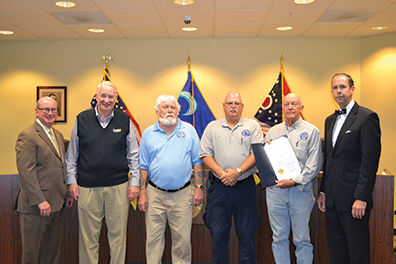 "The Clermont County Board of Commissioners issued a proclamation designating the week of Dec. 6-12, 2015 as ""Pearl Harbor Remembrance Week"" in Clermont County. The presentation was made at their meeting on Nov. 18, 2015. From left, Bob Proud, Clermont County commissioner, Joe Johnston, chairman of the board for Disabled American Veterans, Bob Derrd, legionnaire for American Veterans, Tom Cooper, commissioner for the American Legion, Ken Cook, representative for the Veterans of Foreign Wars Batavia Post and David Uible, county commissioner."