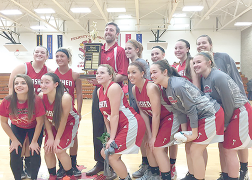 The Goshen Lady Warriors pose with the Southern Buckeye Conference Girls Basketball Tournament trophy after defeating National Division champions Blanchester at Felicity-Franklin on Saturday, Feb. 5.