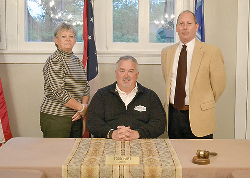 The village of Amelia council appointed two new council members during its meeting on May 17, 2016. Pictured from left, new council member Regina Dietrich Rumke, Mayor Todd Hart and new council member John Hyder.