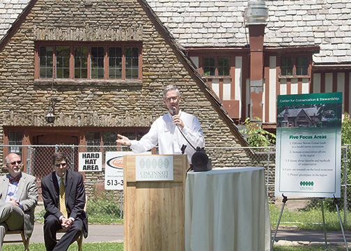 Bill Hopple, Cincinnati Nature Center executive director, speaks about the renovations to Groesbeck House on May 23, 2016. Groesbeck House will open at the Center for Conservation and Stewardship next year.
