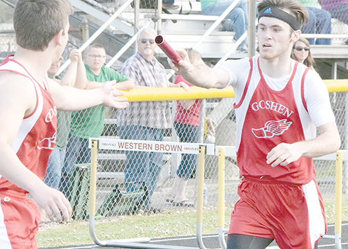 The Goshen 4x800 relay team won their event at the WilliamsburgInvitational by more than three seconds over second-place Batavia.