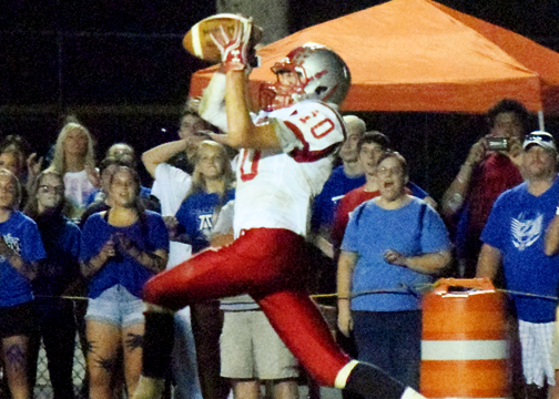Bethel-Tate's Gabe Noble seals the Tiger victory with this interception late in the fourth quarter against the Barons on Sept. 23, 2016.