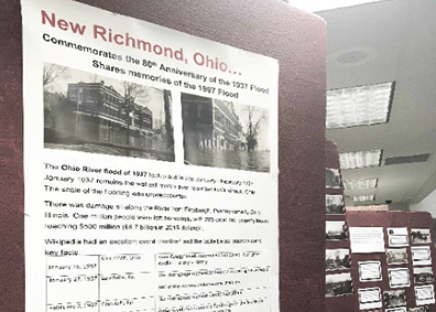 Pictured is an exhibit currently on display at the Clermont County Public Library's New Richmond Branch, located at 103 River Valley Blvd., commemorating the 80th anniversary of the 1937 flood and the 20th anniversary of the 1997 flood.