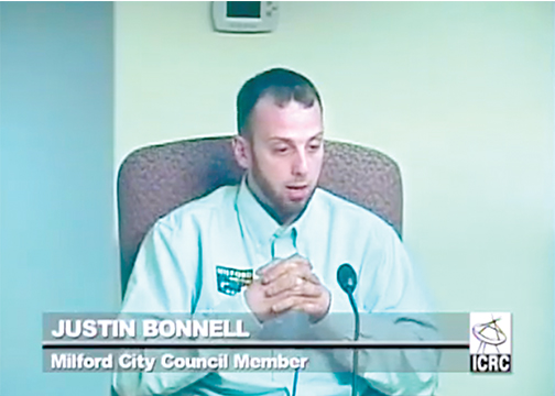 Milford City Councilman Justin Bonnell announced his intention to resign from council at the Feb. 7 special meeting.