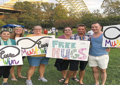 Supporters of Love Must Win, Inc., a local non-profit organization, fighting bullying and self-destructive behaviors and issues affecting the LGBT community.