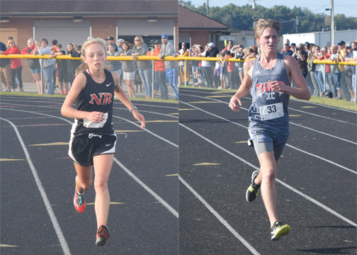New Richmond's Jenna Burns (left) won the girls' 5K event at the SBAAC Cross Country Championships at Western Brown High School on Saturday, Oct. 14. Bethel-Tate's Jackson Coates (right) posted the fastest time in the boys' National Division.