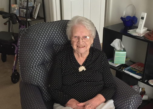 Pictured above is Hazel Honaker, who is turning 100-years-old on Jan. 30, 2018. This photo was taken in her retirement residence on Sept. 22, 2017.