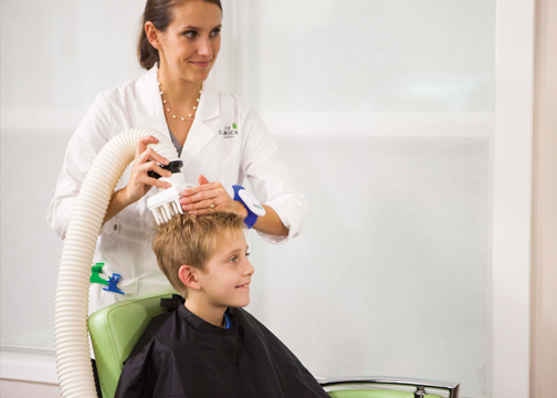 Pictured is the treatment for head lice infestation recommended by the Lice Clinics of America, the AirAllé treatment.